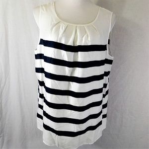 Talbots Stripe Tencel Sleeveless Blouse NWT 16
